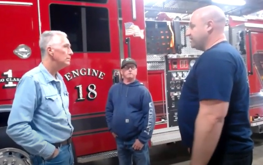 Bobby Halton talks to Tulsa firefighters