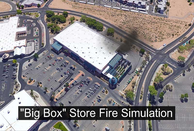 Bird's-eye-view of fireground at big box store fire
