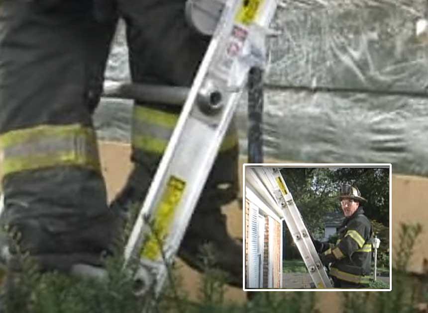 Mike Ciampo providing firefighter training on ladder locks