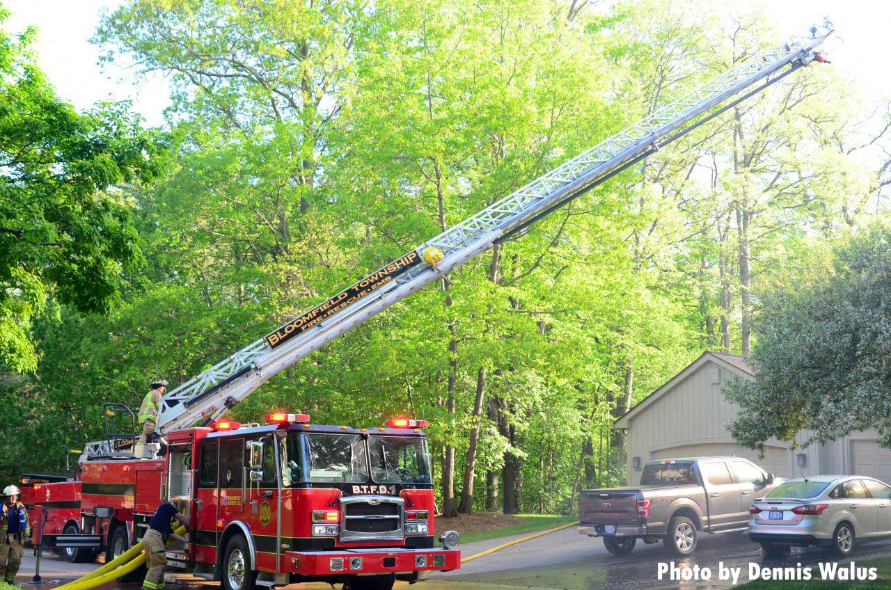 An aerial device in use at the fire