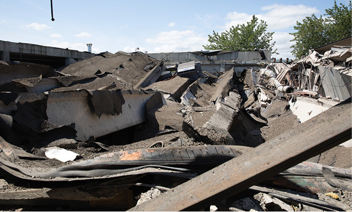 An overview of the structural collapse after the explosion.