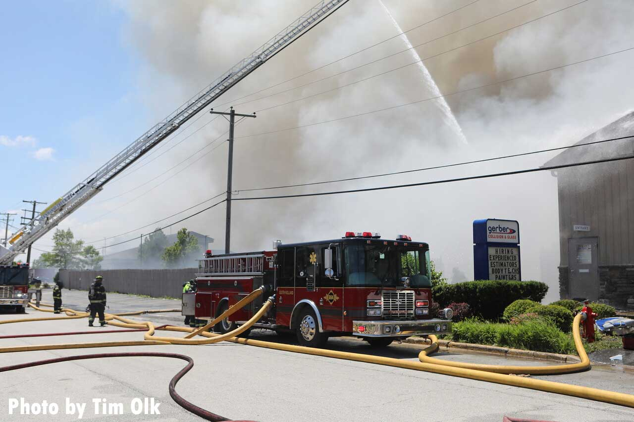 Fire apparatus working during a three-alarm fire in South Holland, Illinois