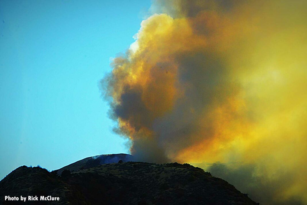 Smoke rises from the Lime Fire in Ventura County, California