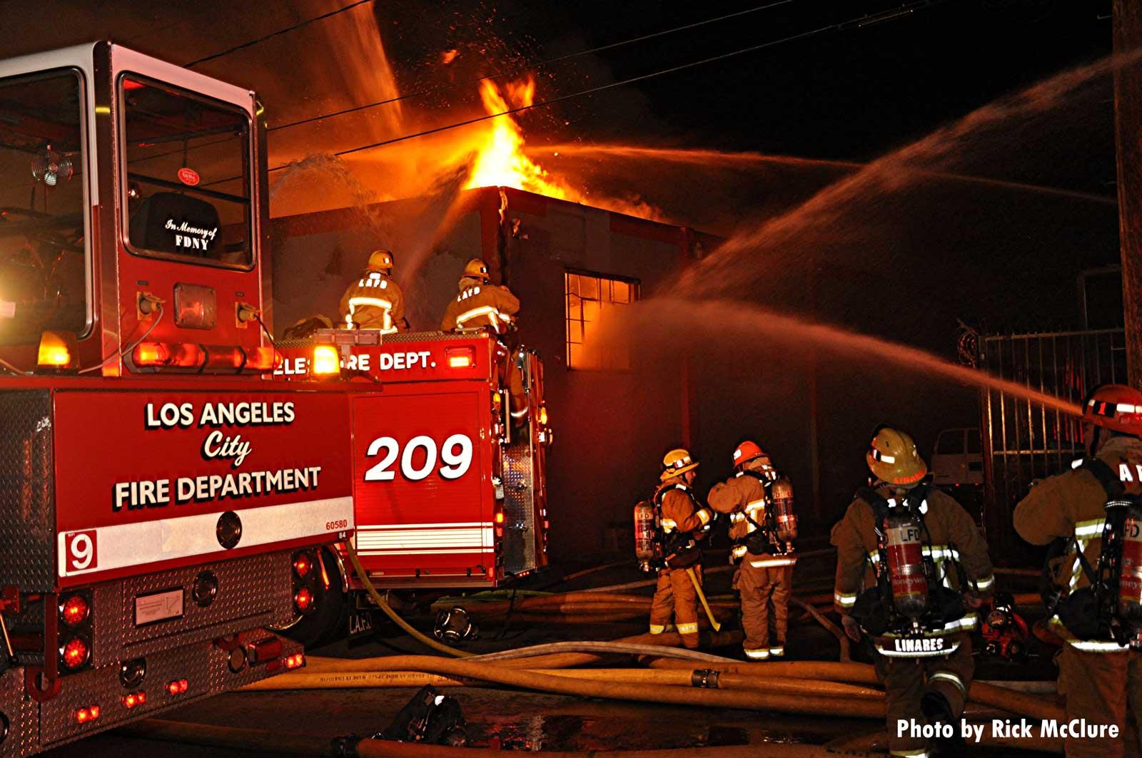 LAFD firefighters battling a major emergency fire