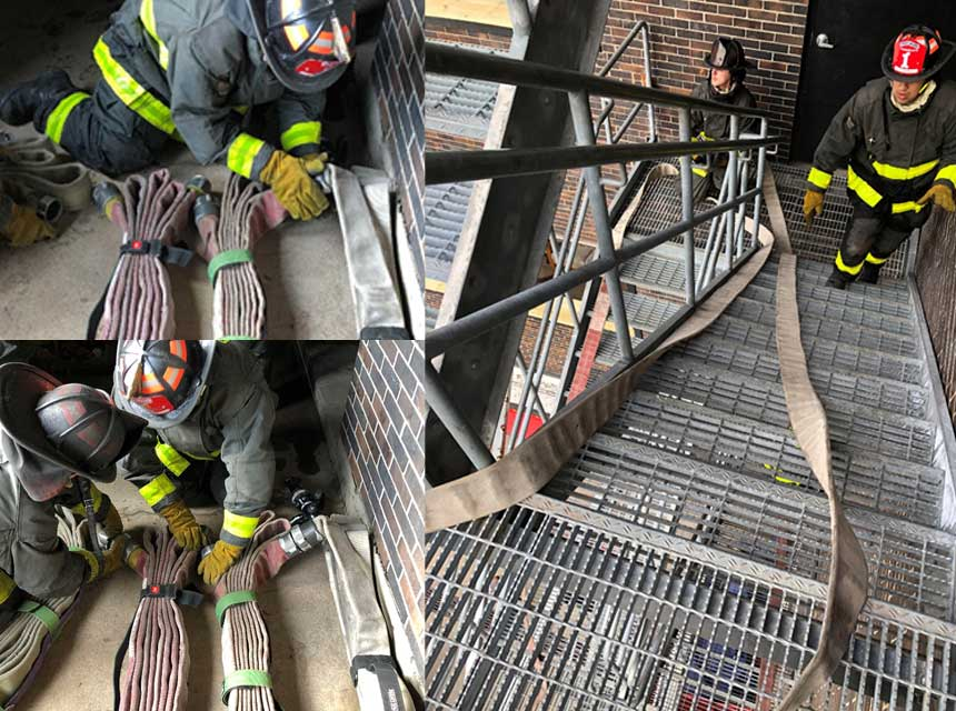 Firefighters working on hose packs and stretching a dry line up stairs