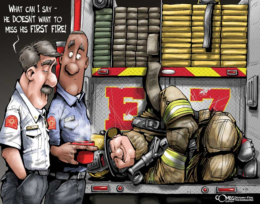 Firefighter asleep on the tailboard