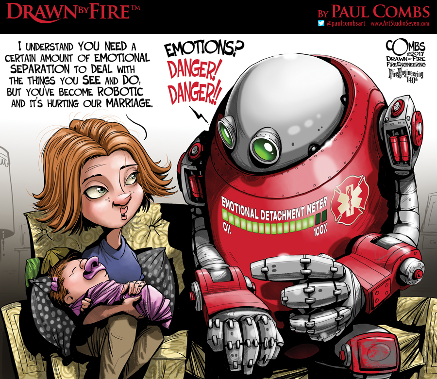 Robot firefighter with a lady