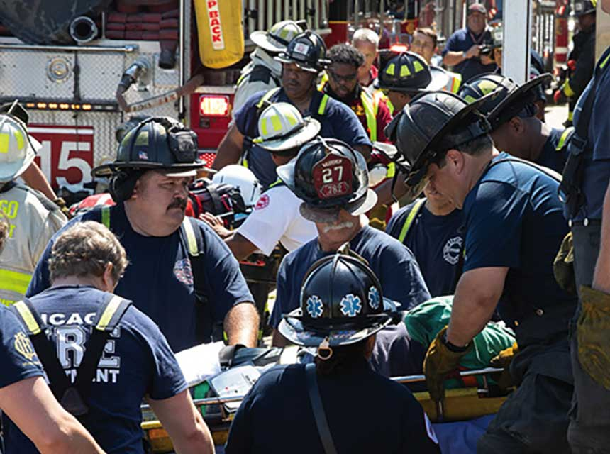 Chicago firefighters respond to explosion and collapse