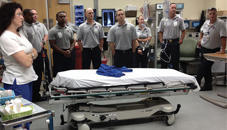 Newly promoted officers on a field trip to our local trauma center, where they met with doctors and nurses. Here, everyone developed a better understanding of what's expected of them.