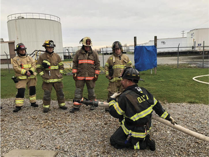 Firefighters perfecting their 2½-inch hoseline skills.