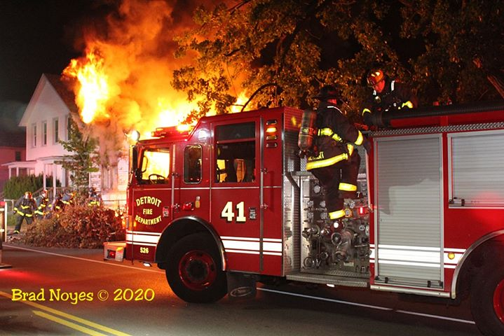 Detroit fire apparatus at fire scene