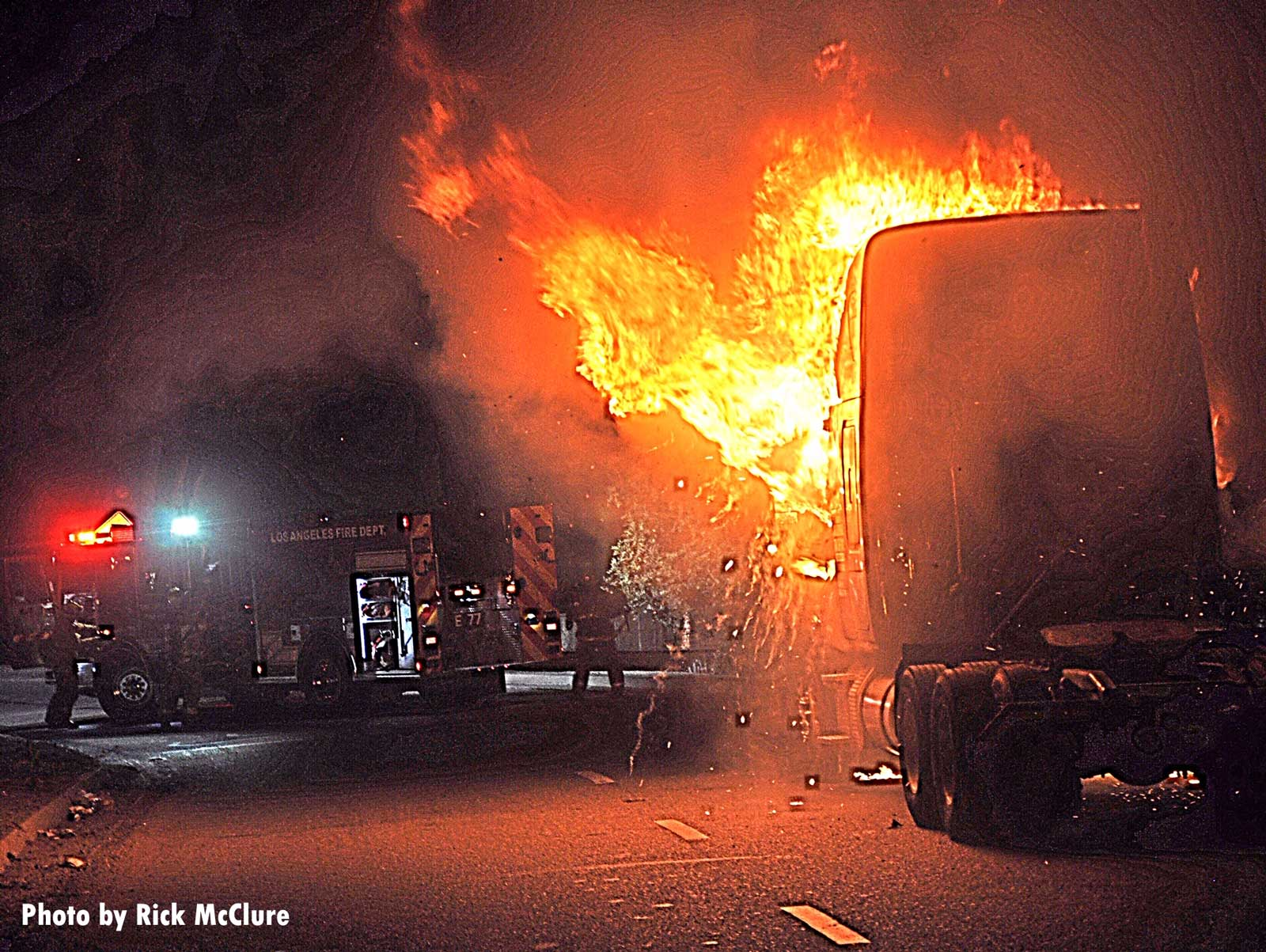 LAFD fire truck at the scene of a semi truck fire