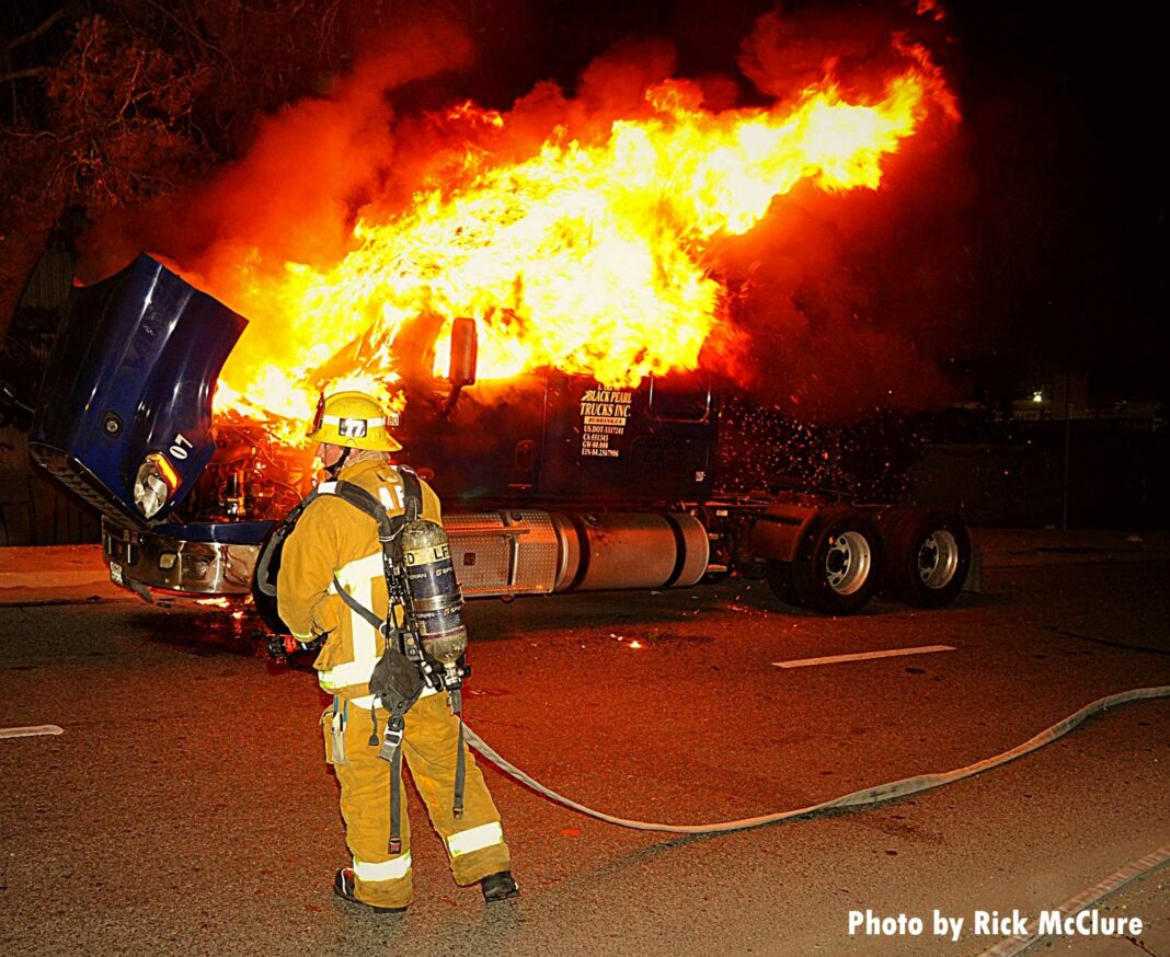 Flames shoot from a semi truck in Sun Valley, Los Angeles