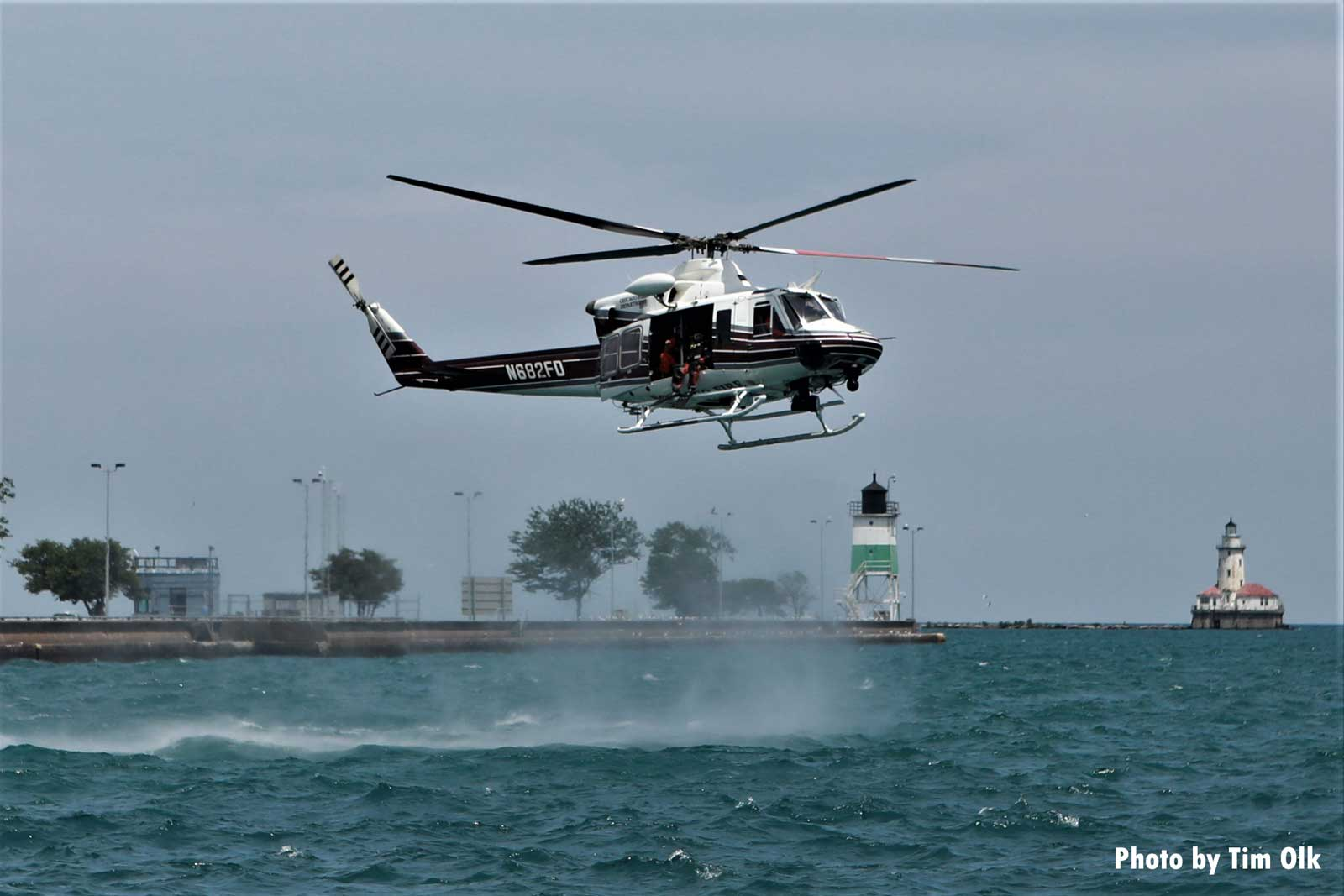 Chicago Fire Department helicopter over water