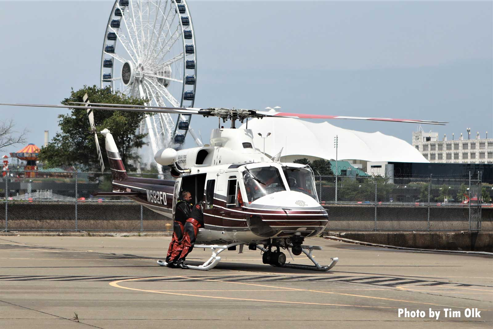 Chicago Fire helicopter on the ground