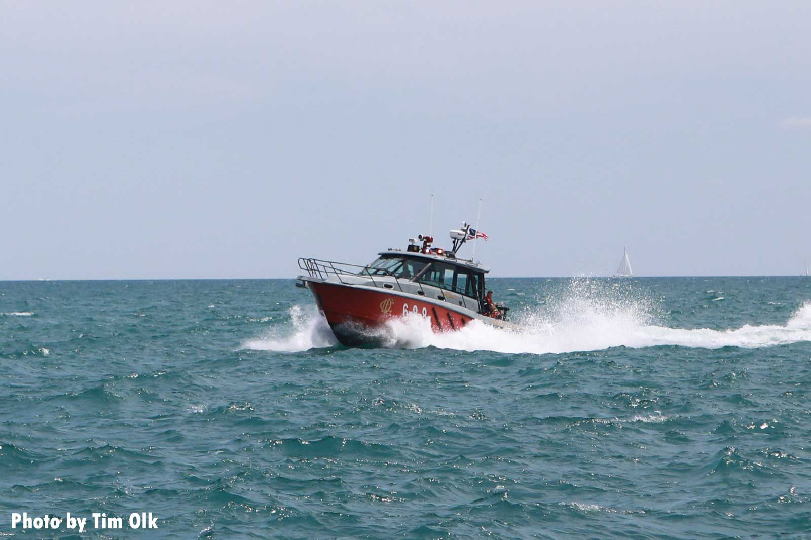 Chicago fireboat in the water