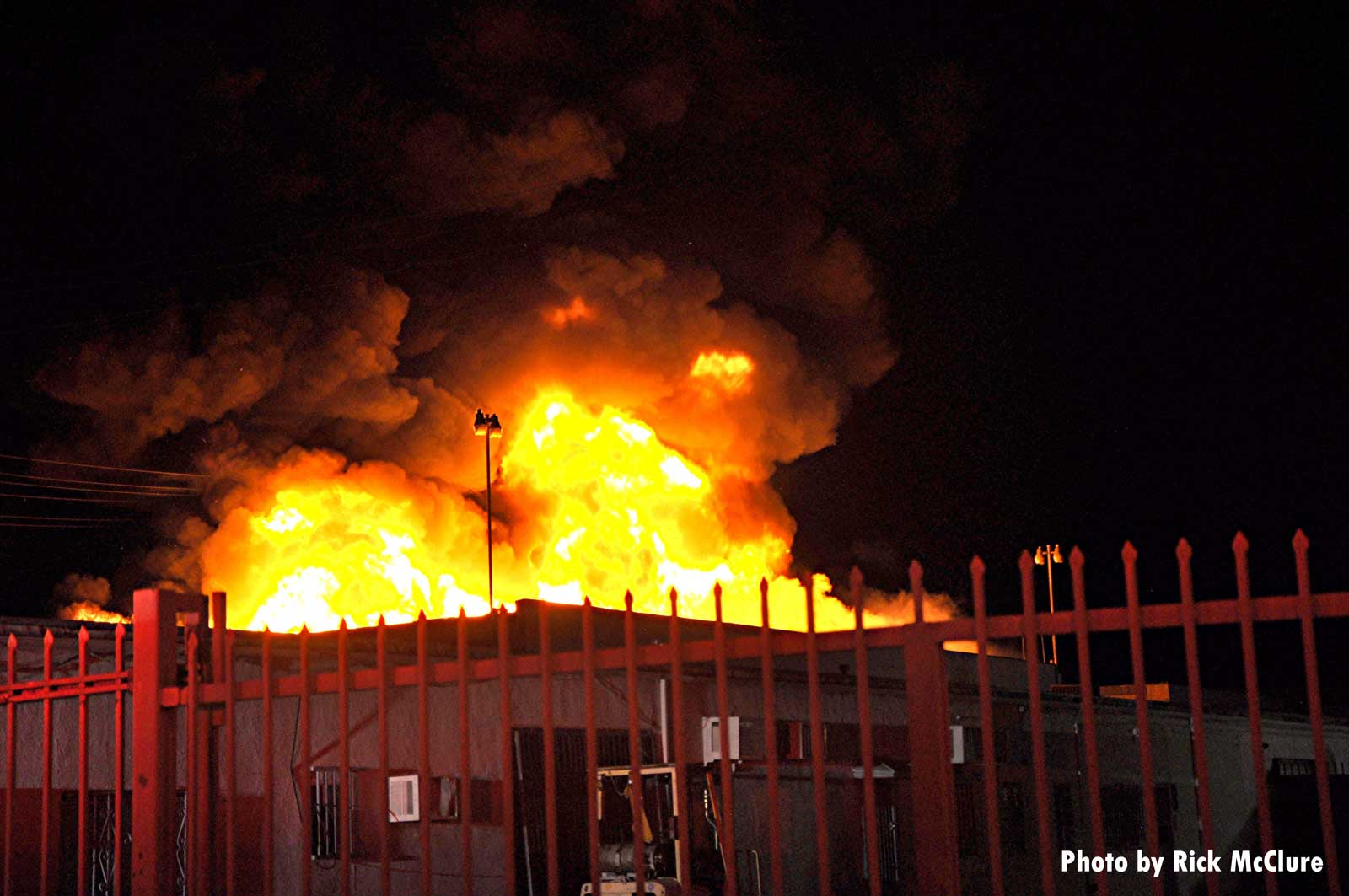 Burning commercial building
