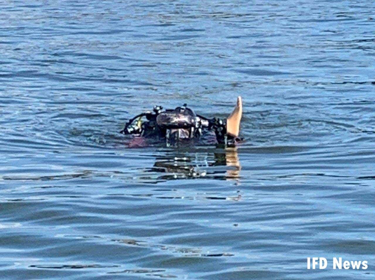 Prosthetic leg floating in water