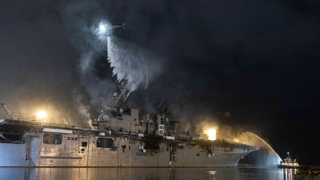 Firefighting at San Diego Navy ship out