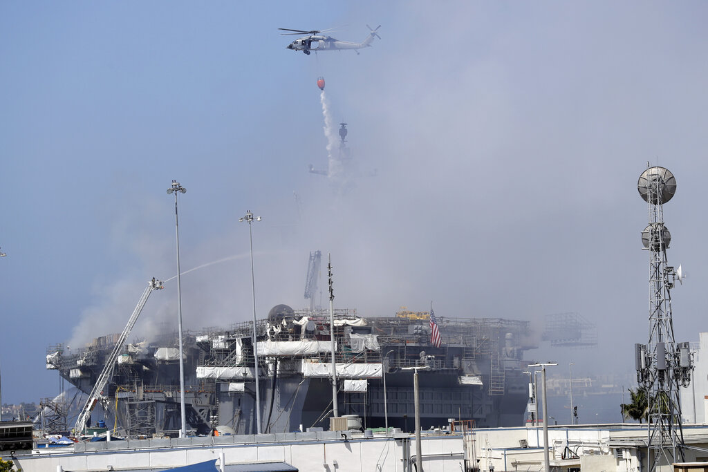 Copter and fire apparatus at USS Bonhomme fire