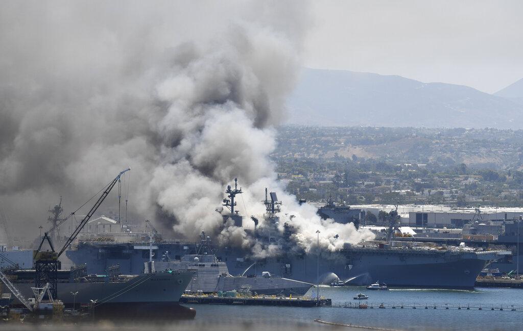 Navy Ship fire in San Diego