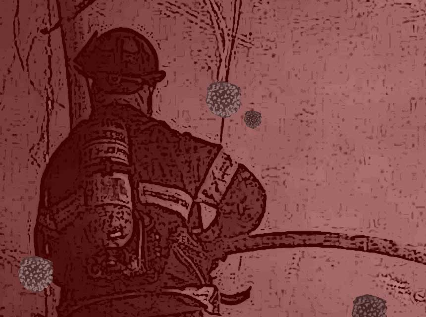 Firefighter with COVID-19 particles floating around