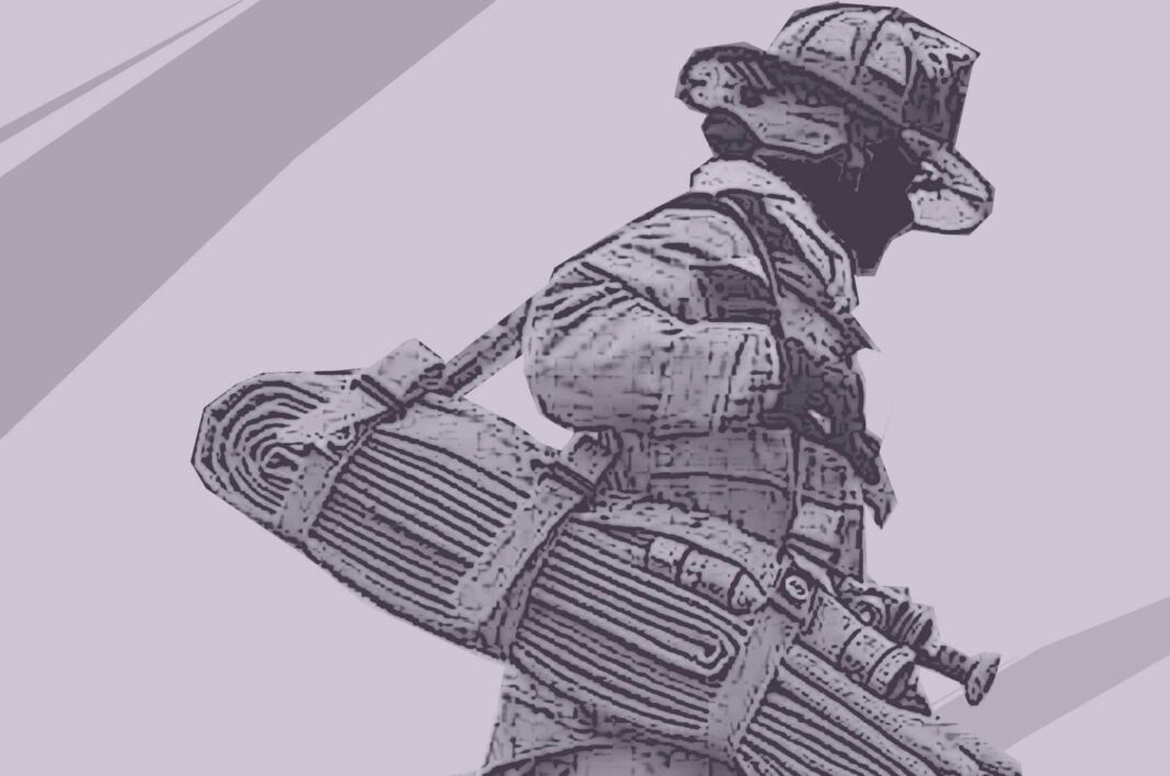 Firefighter hauling hose pack