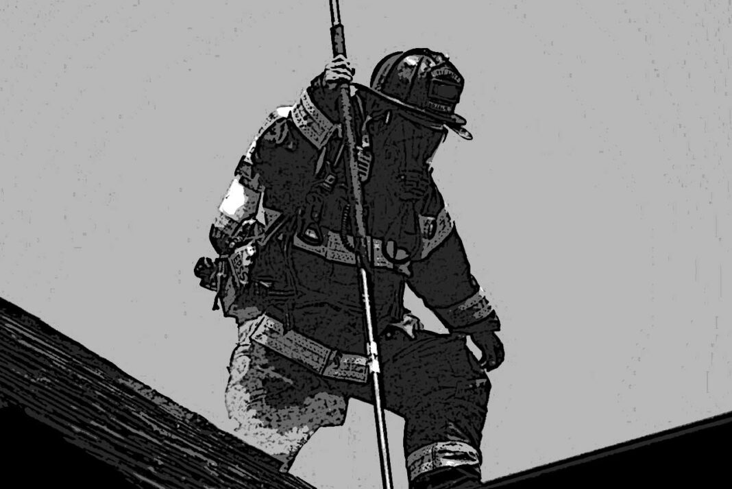 Firefighter on a roof