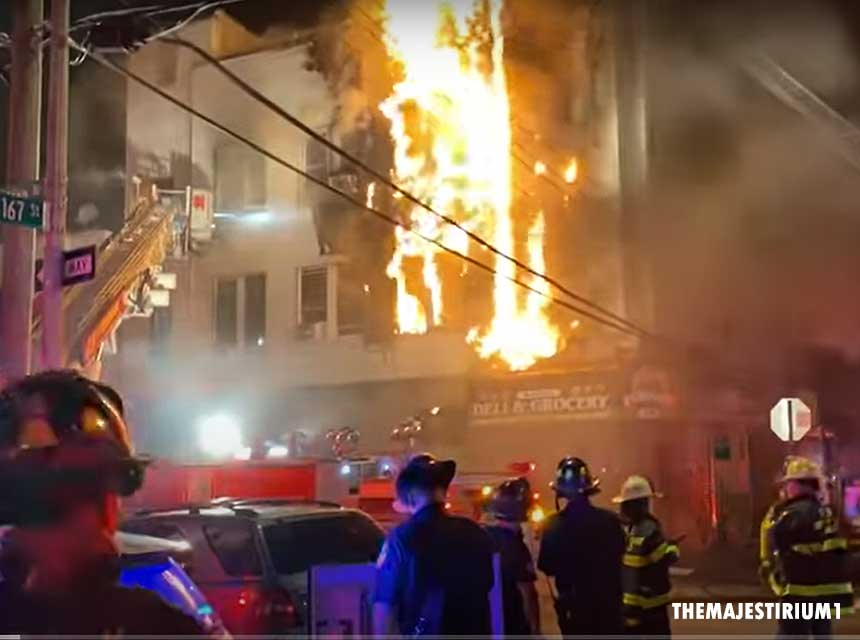 FDNY firefighters at the scene of a two-alarm fire in the Bronx