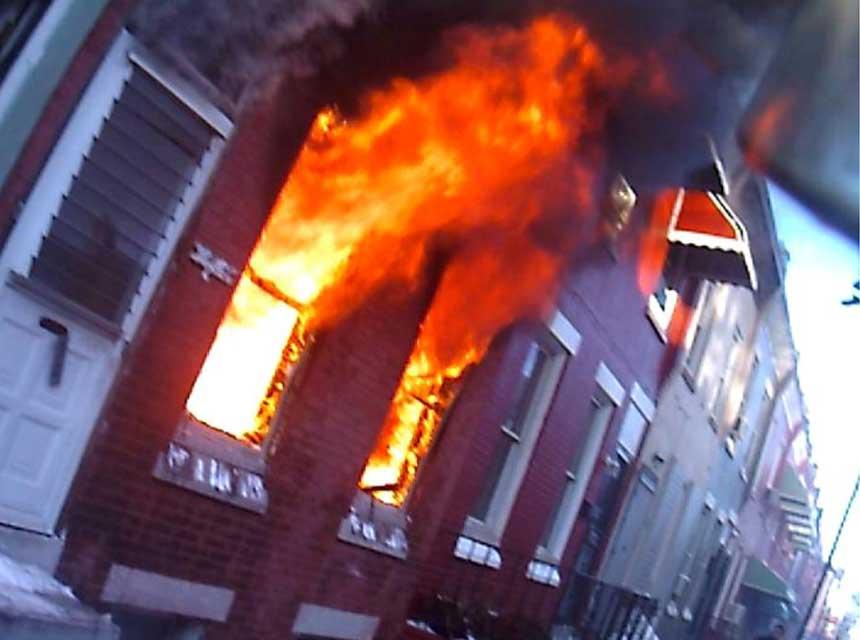 Helmet cam view of fire