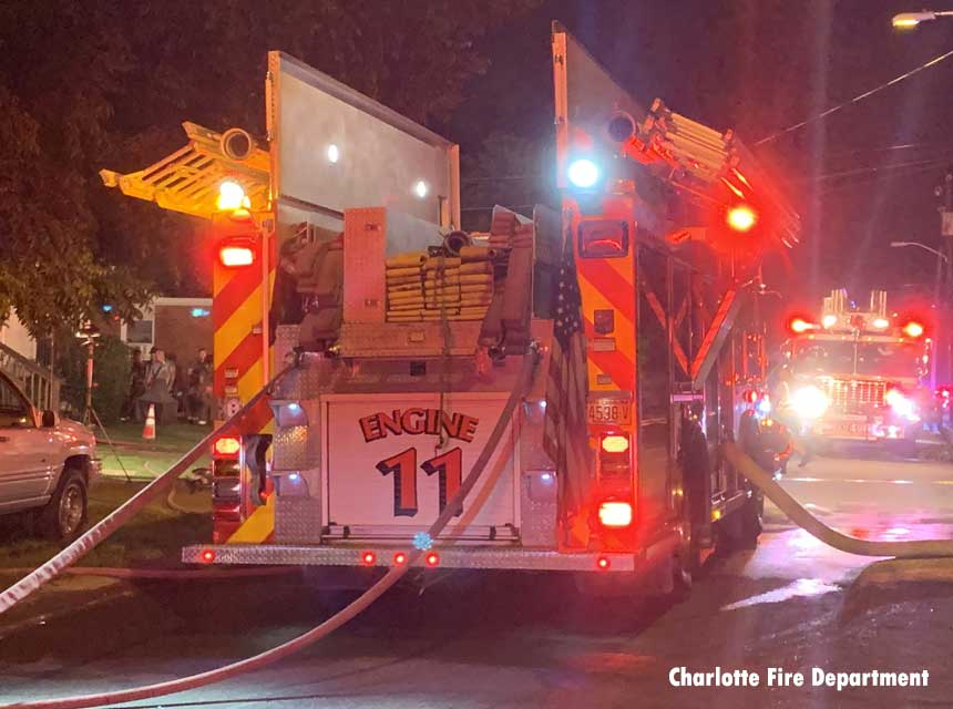 Charlotte fire apparatus at scene of fatal fire