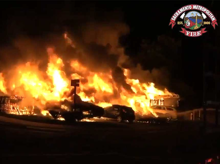 Flames rage at a California duplex fire