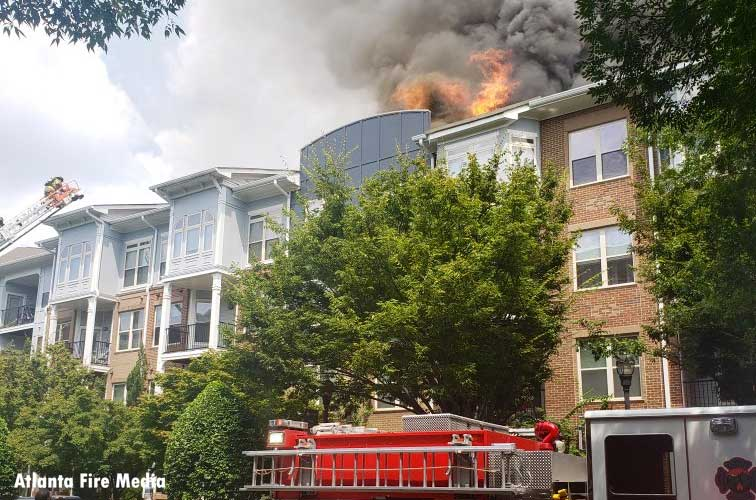 Fire from an apartment building in Atlanta