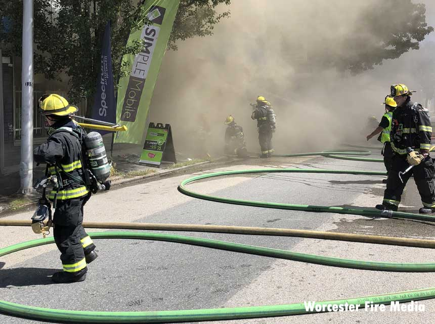Worcester firefighters at four-alarm structure fire