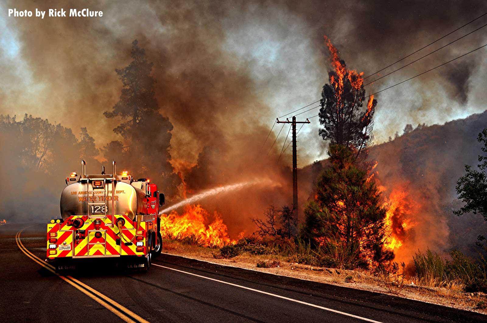 Fire apparatus battling wildfire
