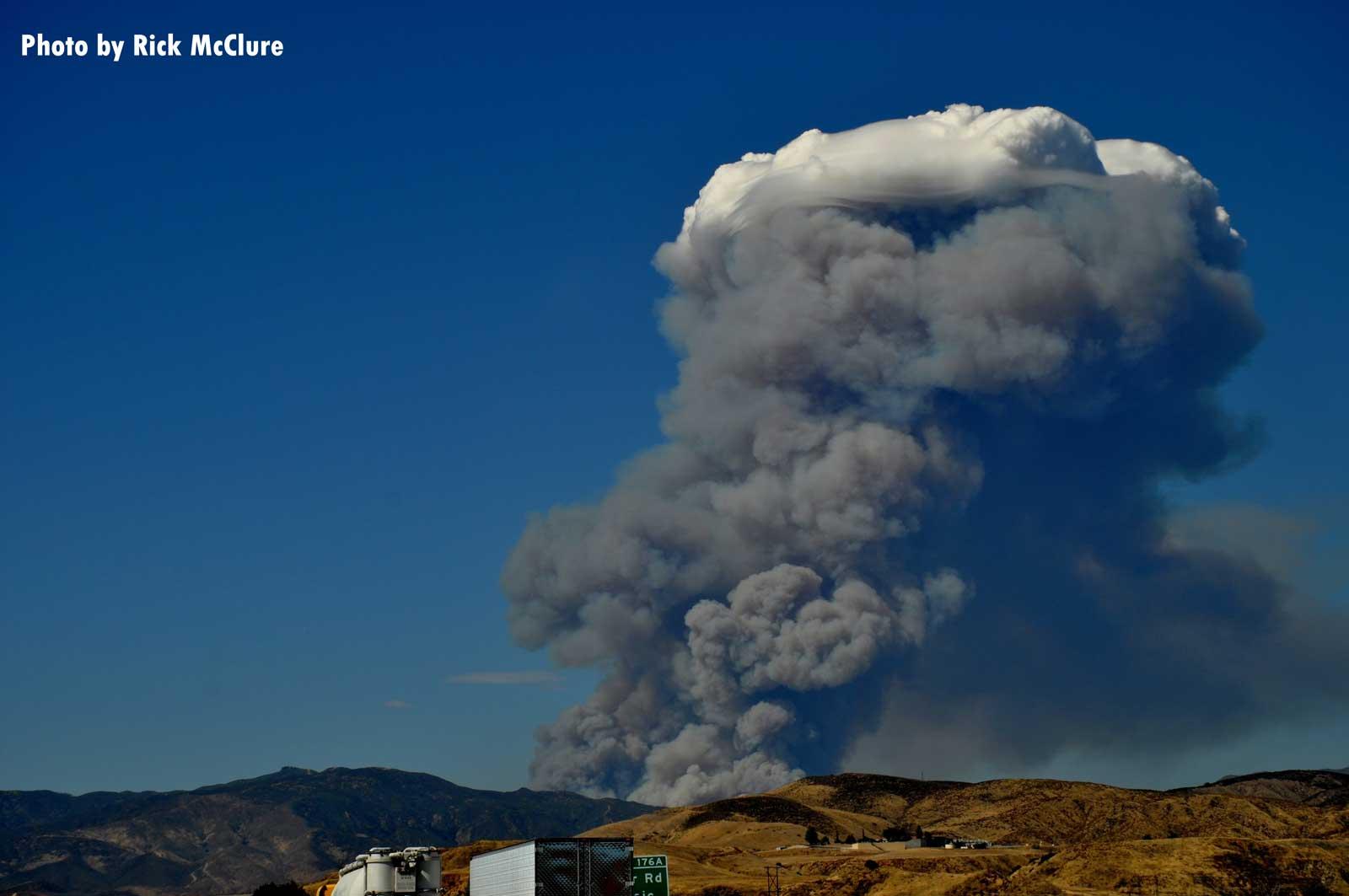 Smoke rises from Lake Fire