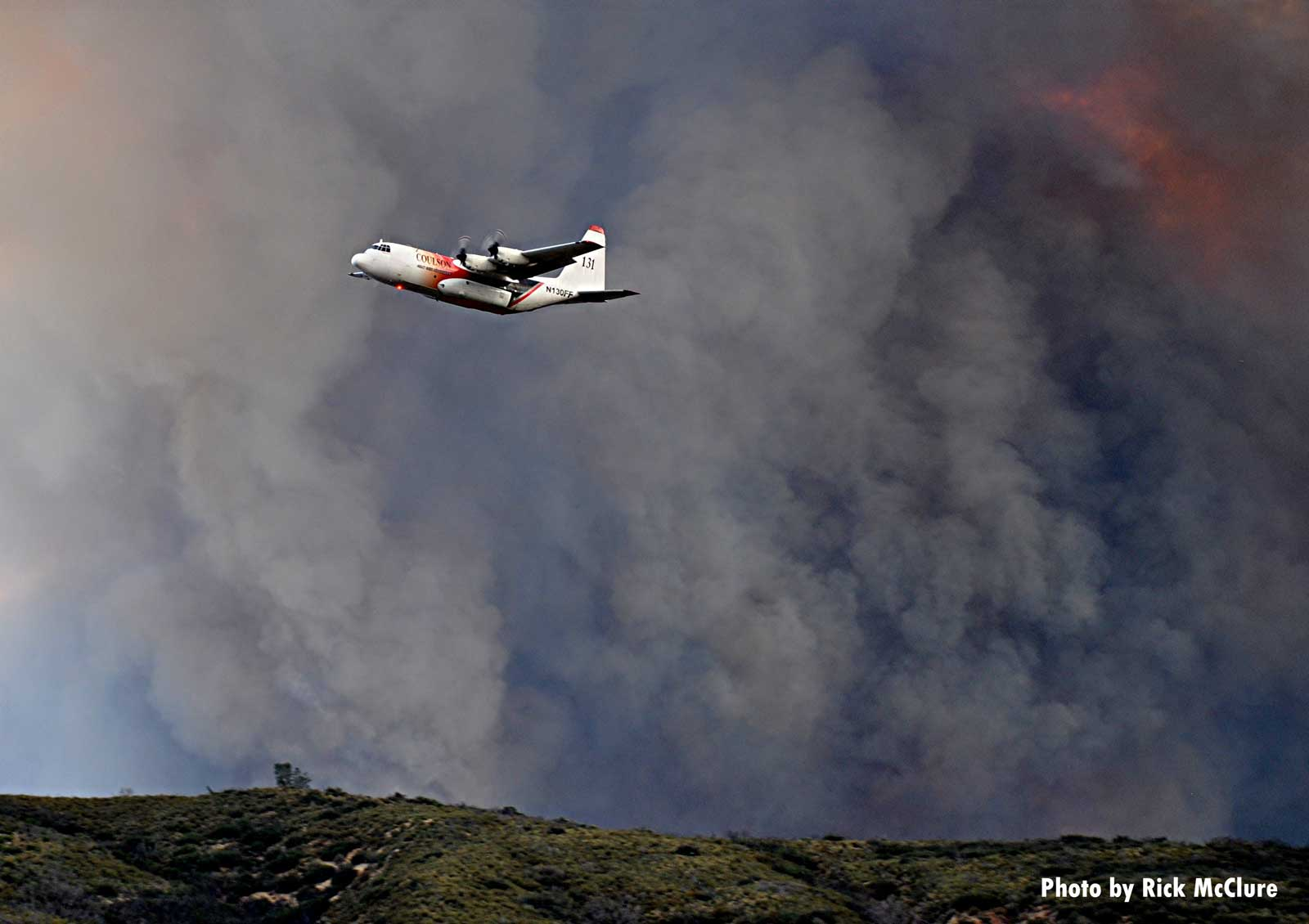 Firefighting aircraft at wildfire