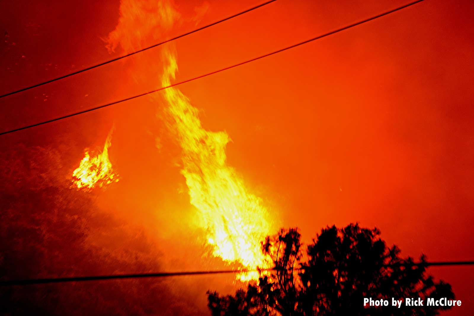 Wildfire flames