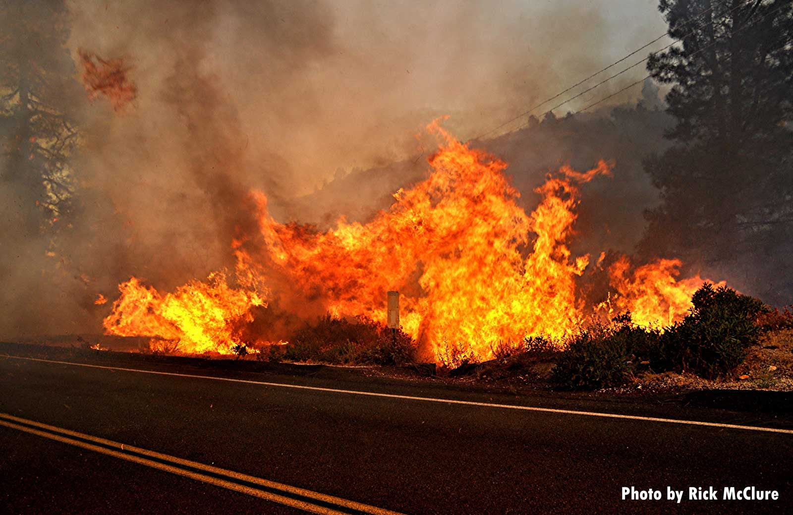 Large swath of brush on fire