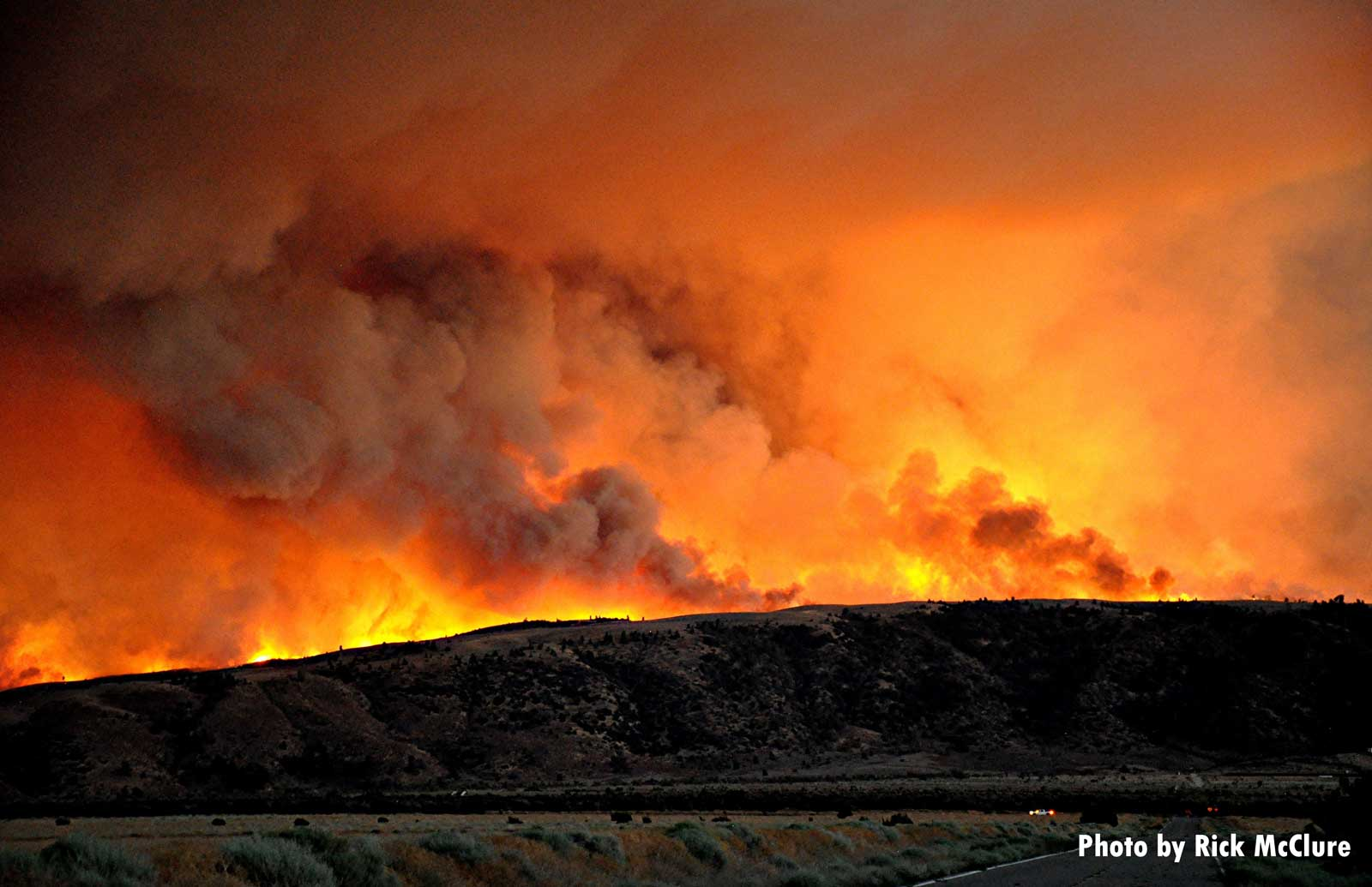 Scorched landscape with flames