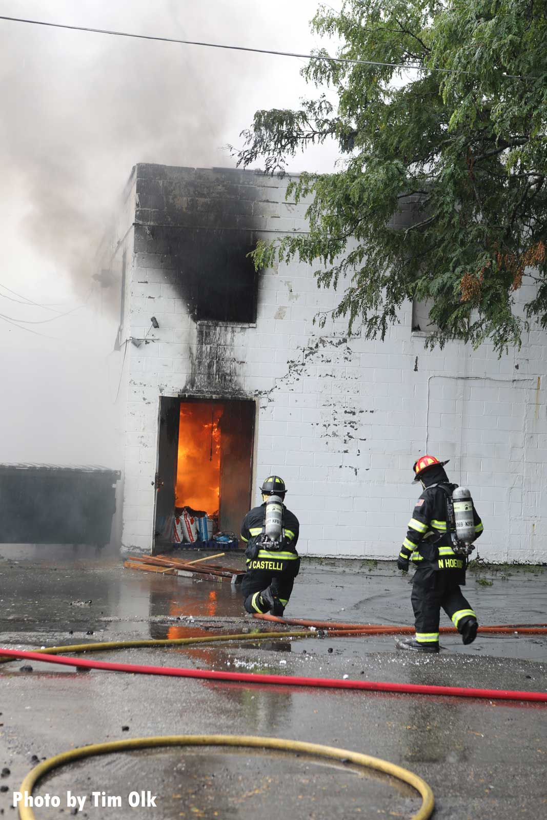 Kenosha firefighters control flames in the wake of riots in the city