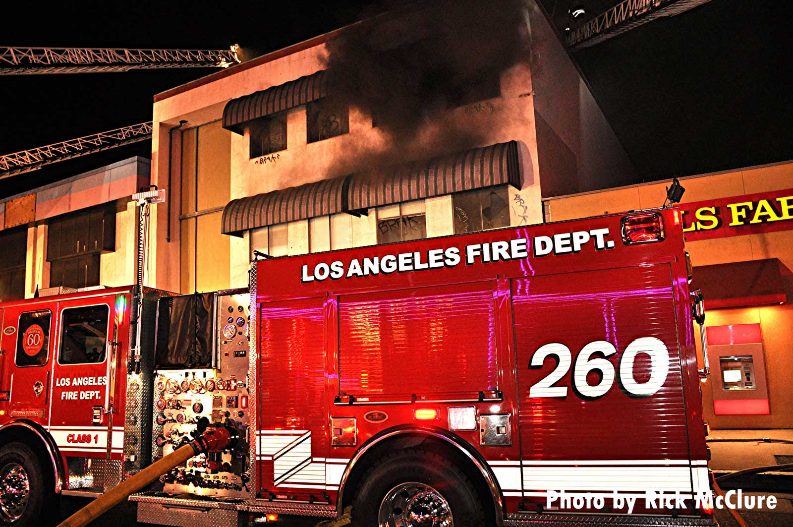 Los Angeles fire truck at fire in commercial building