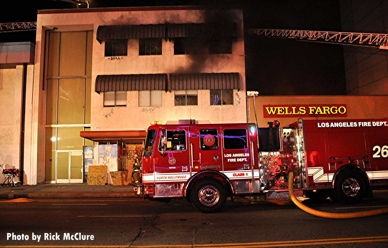 Los Angeles fire apparatus at commercial fire