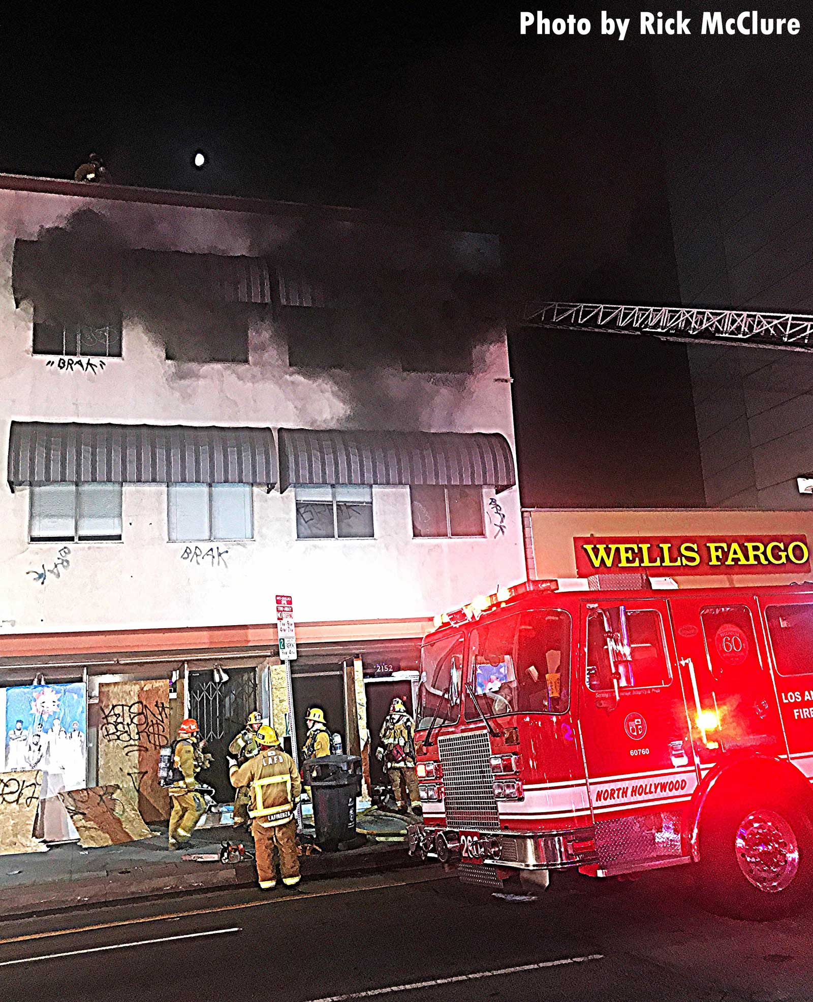 City of Los Angeles fire personnel and fire engine at the scene