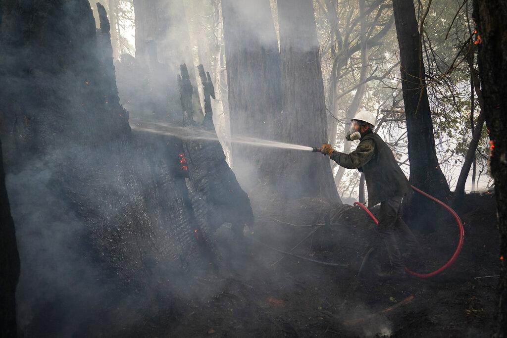 Civilian volunteer puts water on fire
