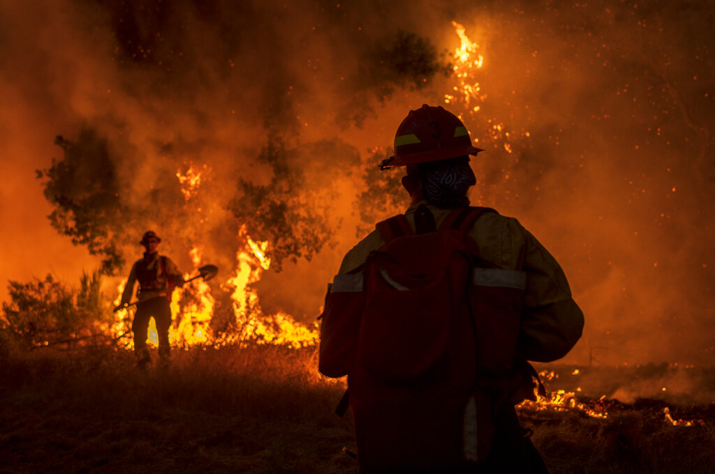 Firefighters at wildfire in California