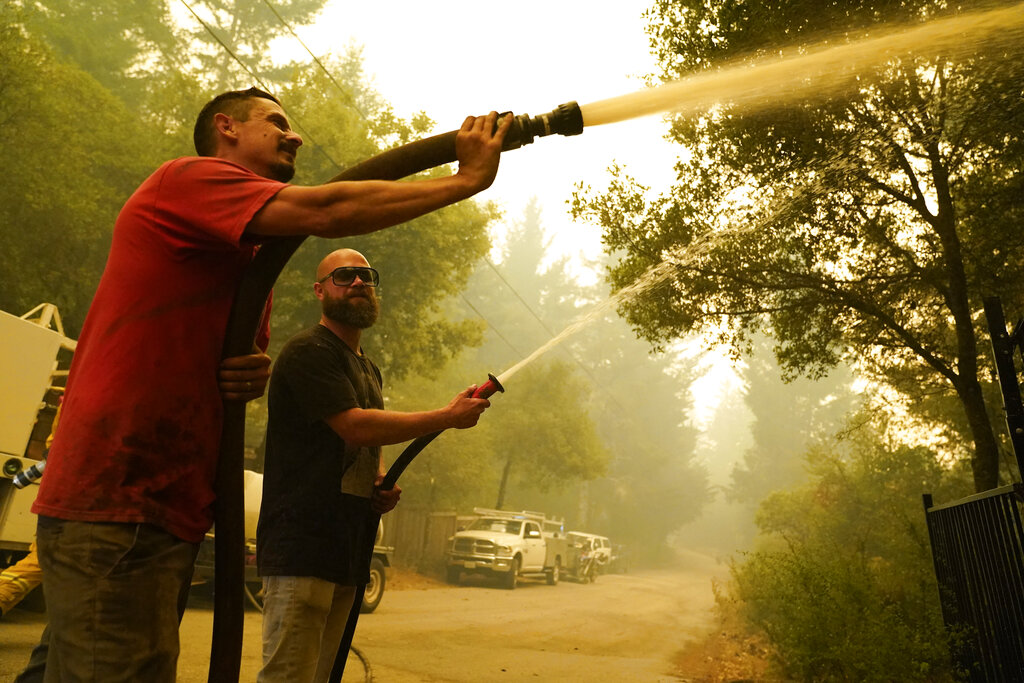 Civilians with hoselines at wildland fire
