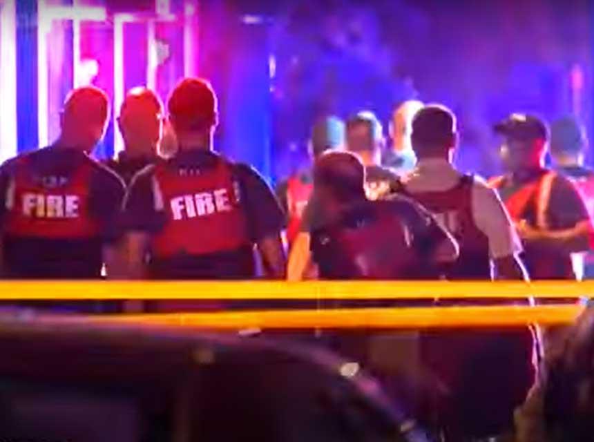 Fire rescue personnel at incident scene