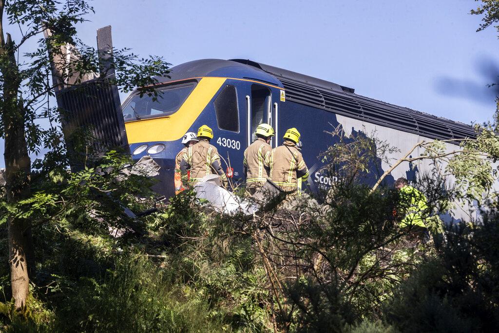 Firefighters at train derailment
