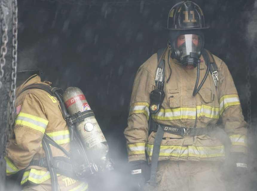 Firefighter wearing SCBA